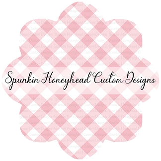 Round 40 - Summer Blooms - Light Pink - Gingham (Smaller Scale)
