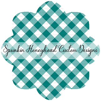 Round 40 - Summer Blooms - Teal - Gingham (Smaller Scale)