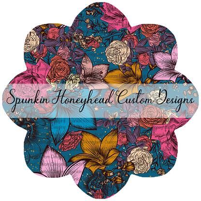 Round 42 - Autumn Magic - Floral on Peacock Sparkle