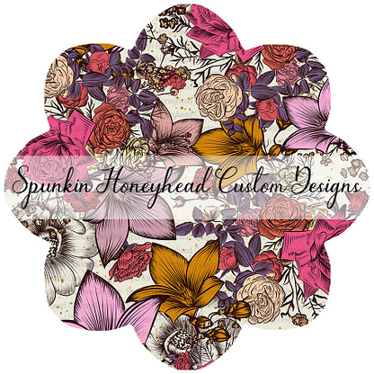 Round 42 - Autumn Magic - Floral on Cream Sparkle