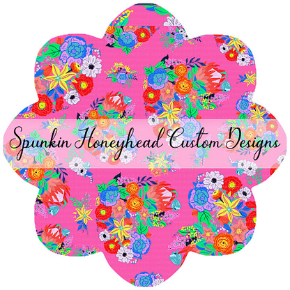 Round 41 - Paradise Florals - Floral Hearts Bright Pink