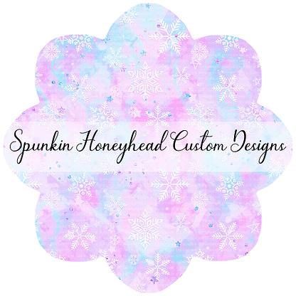 Round 45 - Winter Wonderland - Snowflakes on Pink Lavender/Icy Blue Swirls