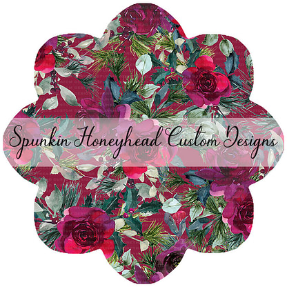 Round 45 - Holiday Florals - Floral on Burgundy