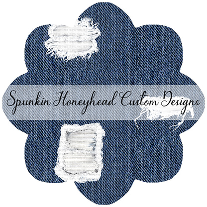Round 46 - Mid Summer 2021 - Distressed/Alcohol Ink Denim Textures - Ripped on Navy Peony