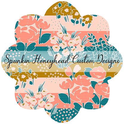 """Round 48 - Spring Fling - Floral on Stripes (1.5"""" Stripe Width)"""