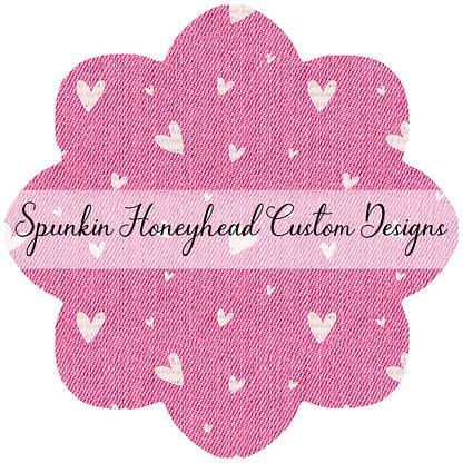 Round 47 (Flash Round) - I Heart You - Denim Textures - Hearts on Pink