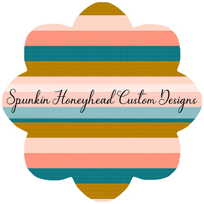 "Round 48 - Spring Fling - Stripes - Blush/Turquoise - 1.5"" Stripes"